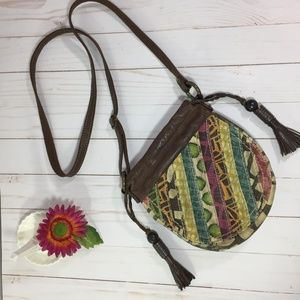 Fossil Leather & Distressed Canvas Bag
